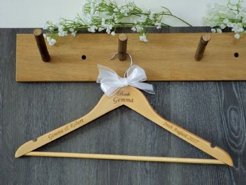 Personalised Wooden Wedding Bridal Dress Hanger Bride Bridesmaid Bow